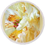 Heart Of Peony Round Beach Towel