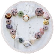 Heart Of Seashells And Rocks Round Beach Towel