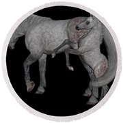 Heart Of The Brood Mare Round Beach Towel