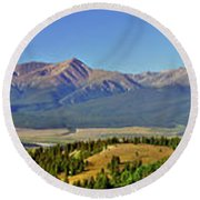 Heart Of The Sawatch Panoramic Round Beach Towel by Jeremy Rhoades