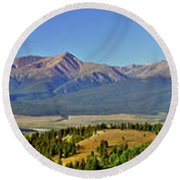 Heart Of The Sawatch Panoramic Round Beach Towel