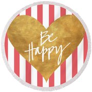 Heart On Stripes Iv Round Beach Towel