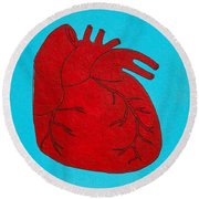 Heart Red Round Beach Towel