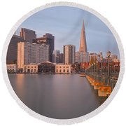 Heart San Francisco Round Beach Towel by Jonathan Nguyen
