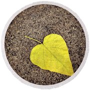 Heart Shaped Leaf On Pavement Round Beach Towel