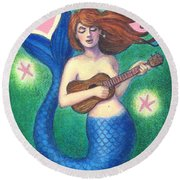 Round Beach Towel featuring the painting Heart Tail Mermaid by Sue Halstenberg