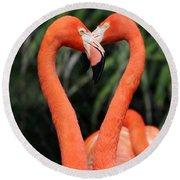 Heart To Heart Flamingo's Round Beach Towel