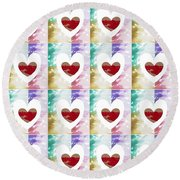 Heartful 2 Round Beach Towel