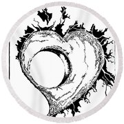 You Left A Whole In My Heart Round Beach Towel by Dani Abbott