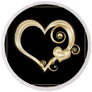 Hearts In Gold And Ivory On Black Round Beach Towel