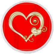 Hearts In Gold And Ivory On Red Round Beach Towel
