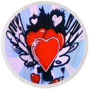Round Beach Towel featuring the painting Hearts by Marisela Mungia
