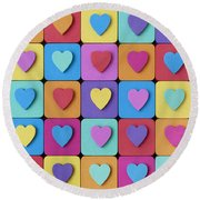 Hearts Of Colour Round Beach Towel