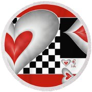 Hearts On A Chessboard Round Beach Towel