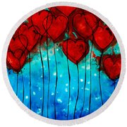 Hearts On Fire - Romantic Art By Sharon Cummings Round Beach Towel by Sharon Cummings