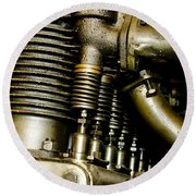 Heath-henderson Motorcycle Engine Round Beach Towel by Wilma  Birdwell