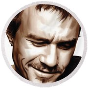Heath Ledger Artwork Round Beach Towel by Sheraz A