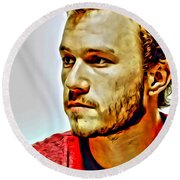 Heath Ledger Portrait Round Beach Towel by Florian Rodarte