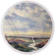 Heather On The Road To Fairy Plain  Round Beach Towel
