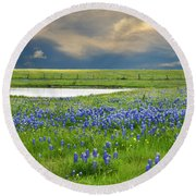 Heavenly Blues Round Beach Towel