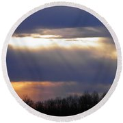 Heavenly Sunset Round Beach Towel by Nick Kirby