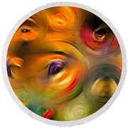 Heaven's Eyes - Abstract Art By Sharon Cummings Round Beach Towel