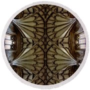 Heavenward -- Winchester Cathedral Ceiling Round Beach Towel