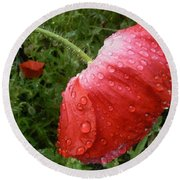 Heavy Head Poppy Round Beach Towel
