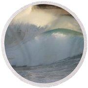 Heavy Surf At Carmel River Beach Round Beach Towel