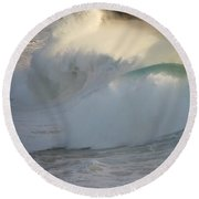 Heavy Surf At Carmel River Beach Round Beach Towel