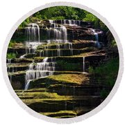 Round Beach Towel featuring the photograph Hector Falls by Dave Files