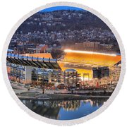 Heinz Field At Night Round Beach Towel