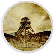 Helena-montana-fire Tower Round Beach Towel