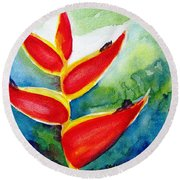 Heliconia - Abstract Painting Round Beach Towel by Carlin Blahnik