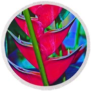 Heliconia Abstract Round Beach Towel