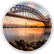 Hell Gate And Triboro Bridge At Sunset Round Beach Towel
