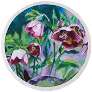 Hellebore Flowers Round Beach Towel