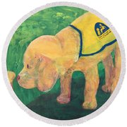 Round Beach Towel featuring the painting Hello - Cci Puppy Series by Donald J Ryker III