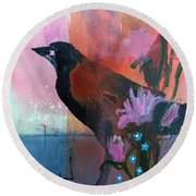 Hello Crow Round Beach Towel