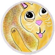 Hello Little Kitty Round Beach Towel