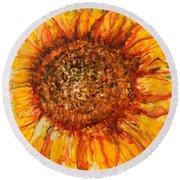 Hello Sunflower Round Beach Towel