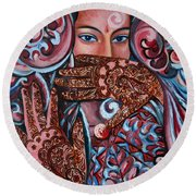 Round Beach Towel featuring the painting Henna by Harsh Malik