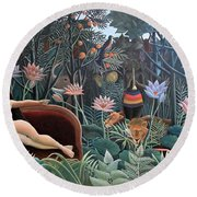 Henri Rousseau The Dream 1910 Round Beach Towel