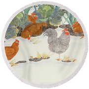 Hens In The Vegetable Patch Round Beach Towel by Linda Benton