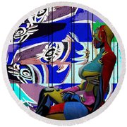 Her Abstract Journey Round Beach Towel