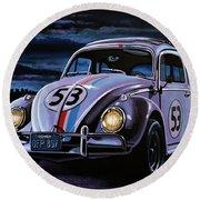 Herbie The Love Bug Painting Round Beach Towel