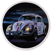 Herbie The Love Bug Painting Round Beach Towel
