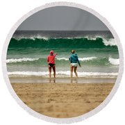 Round Beach Towel featuring the photograph Here Comes The Big One by Terri Waters