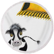 Here Comes The Bulldozer Round Beach Towel