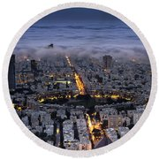 Round Beach Towel featuring the photograph Here Comes The Fog  by Ron Shoshani